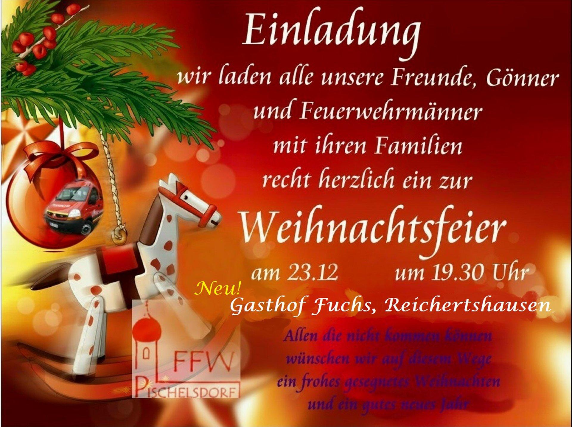 Einladung Zur Weihnachtsfeier.Ffw Pischelsdorf E V Einladung Zur Weihnachtsfeier